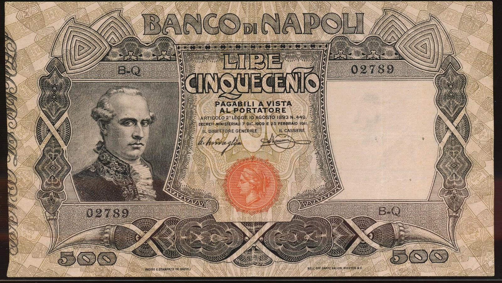 Italy 500 Lire banknote Banco di Napoli