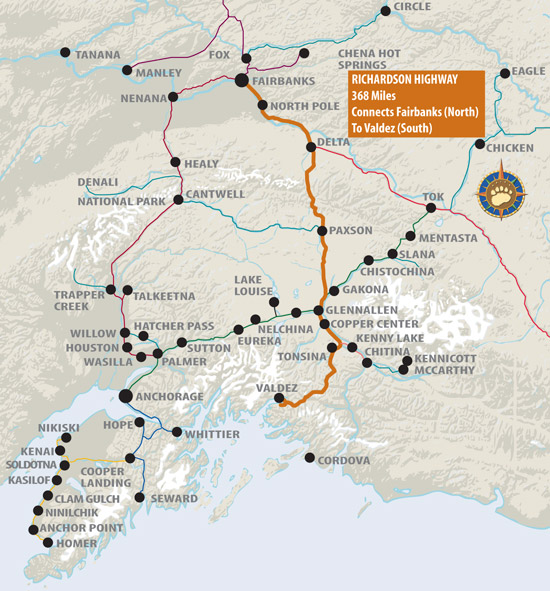 Maps of Alaska Roads By Bearfoot Guides: Map of Richardson Highway ...