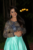 Nikki Galrani in Green Skirt  Top at Marakathamani music launch ~  Exclusive (67).JPG