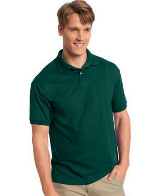 Hanes 054X Mens Comfortblend Jersey Polo - Deep Forest – L