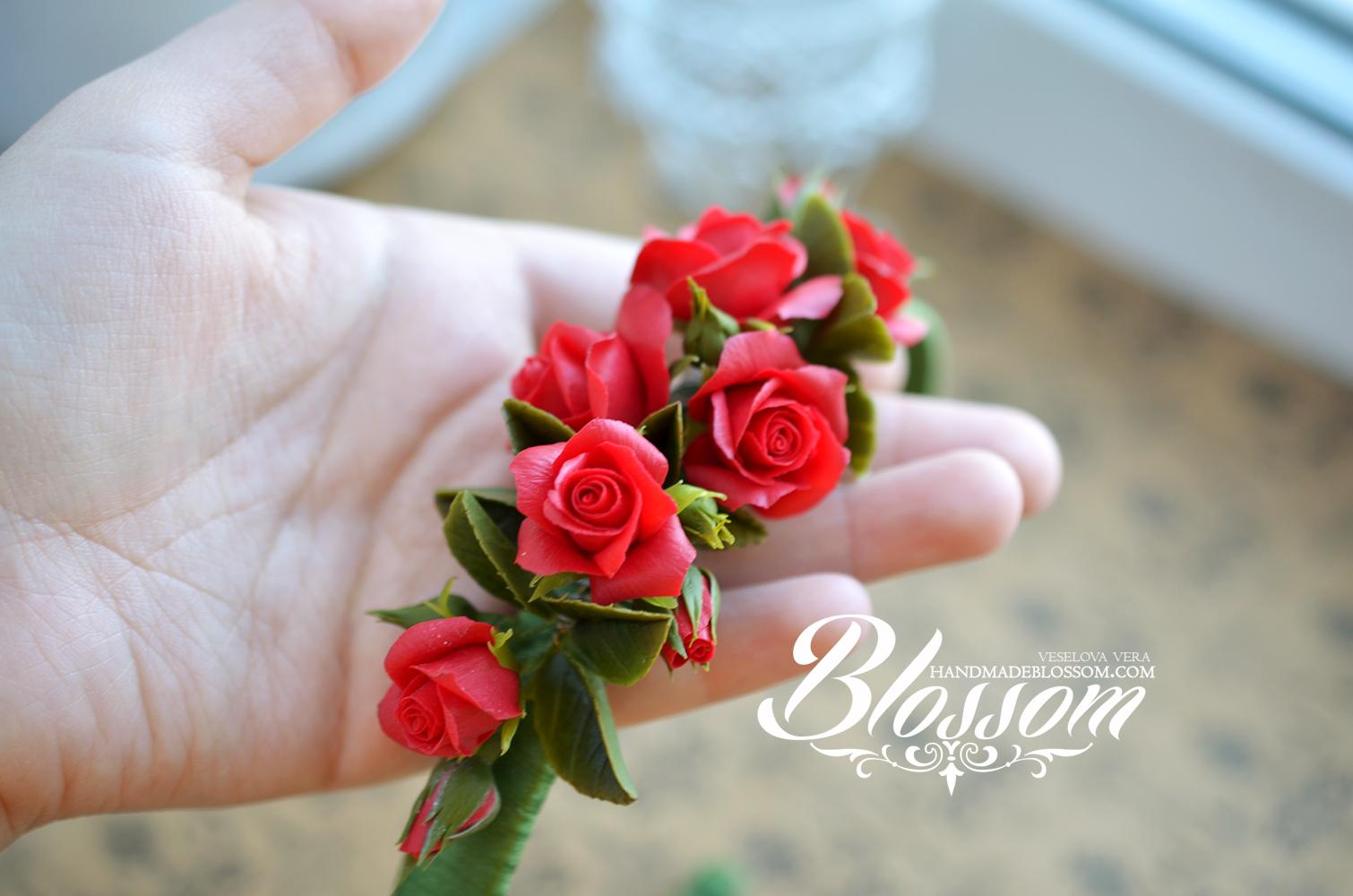 ободок, волосы, розы, красные розы, полимерная глина, пластика, фимо, красный, цветы, украшение, прическа, свадьба, 8 марта, handmade, polymer clay, fimo, wedding, gift, girl, red, roses, red roses, flowers