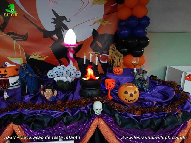 Decoração infantil Halloween - festa de aniversário - Mesa tradicional de tecido luxo