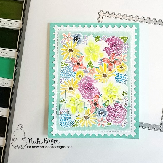 Floral Card by Naki Rager | Blooming Botanicals Stamp Set + Framework Die Set by Newton's Nook Designs #newtonsnook