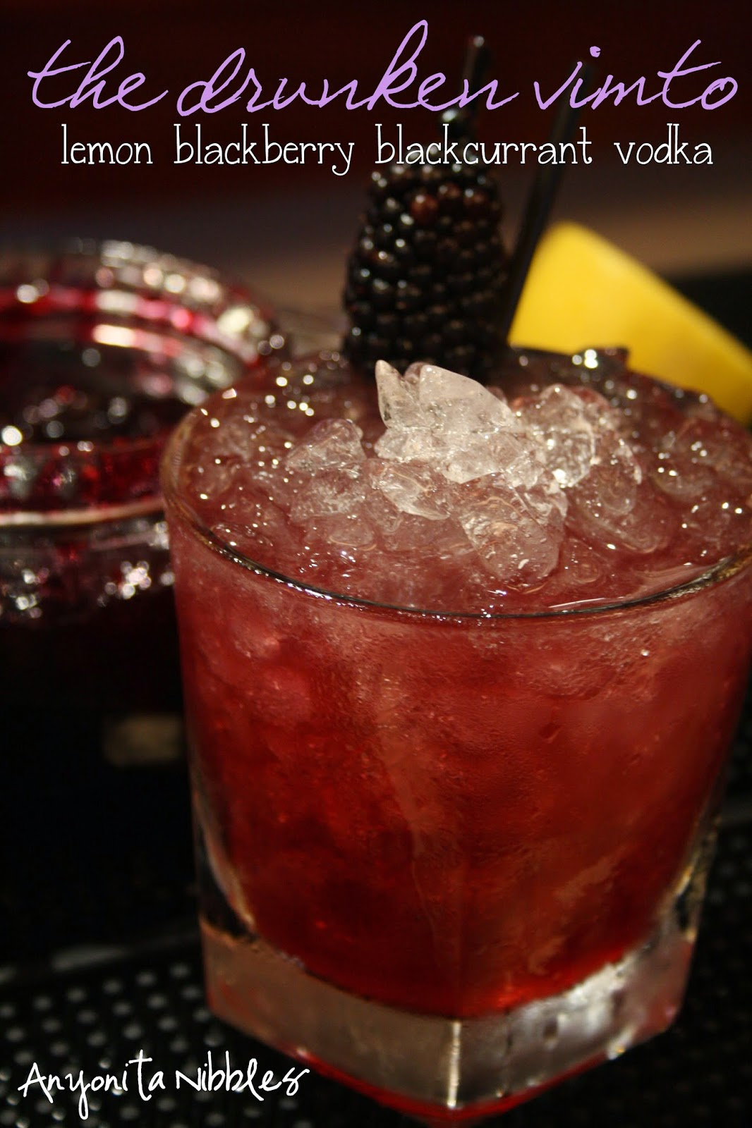 Lemon, blackberry, blackcurrant, honey and vodka come together to form this sassy drink. From Anyonita Nibbles
