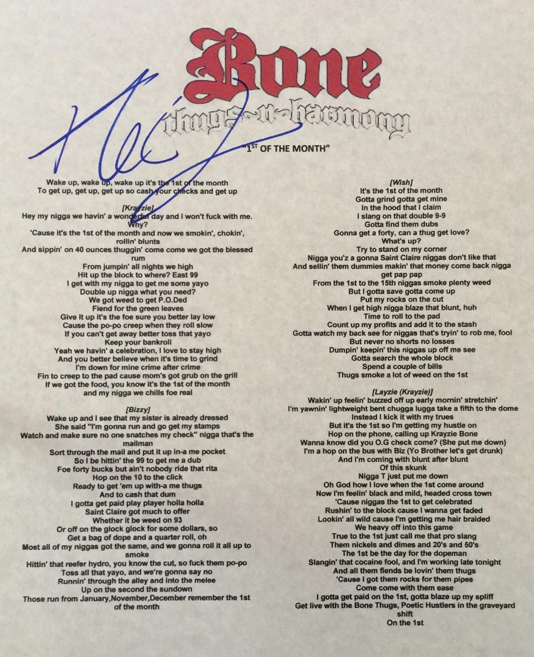 Bone Thugs-N-Harmony Lyrics 1st of tha month autographed