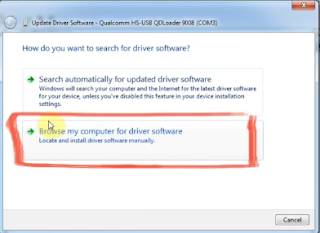 Browse my computer for driver software locate and instal drivers software manually