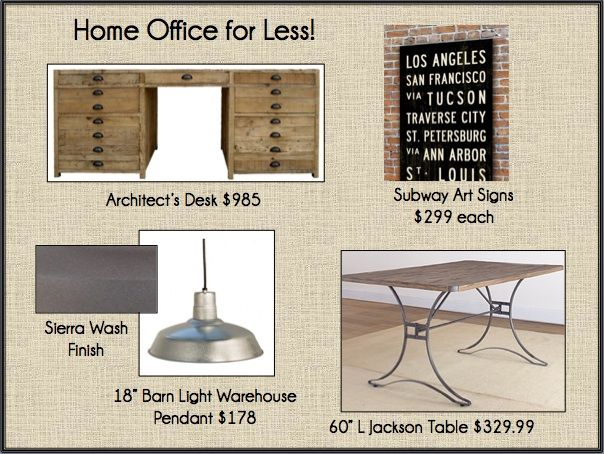 a new home office like restoration hardware only cheaper driven