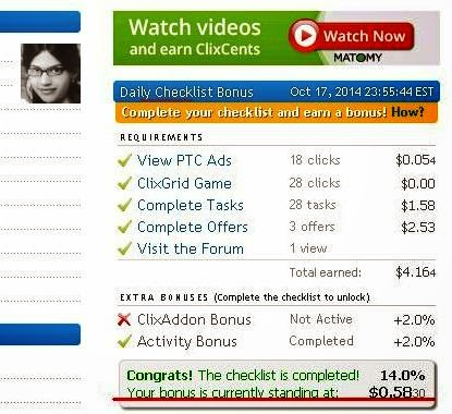 My Latest One Day Personal Clixsense Earning | 17 October 2014
