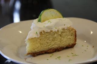 slice of margarita cake on white plate