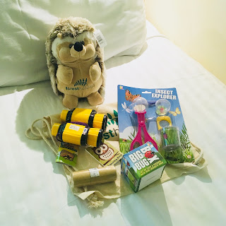 Children's holiday pack including teddy, kids binoculars, bug box and magnifying glass and canvas drawstring rucksack to keep it all together