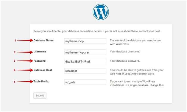 Filling the Details in WordPress