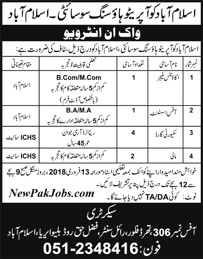 Islamabad Cooperative Housing Society,Walk in Interview Jobs