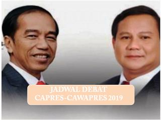 Jadwal Debat Capres dan Cawapres 2019
