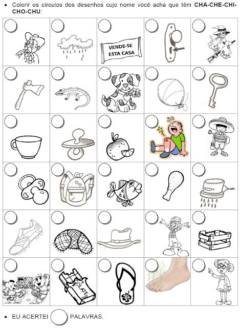 Colorir os círculos dos desenhos que têm CH