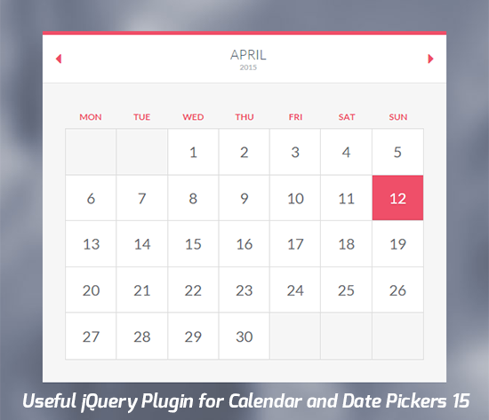 15 Useful jQuery Plugin for Calendar and Date Pickers