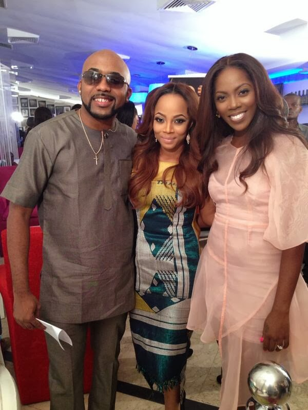 Tiwa Savage,Banky W & Toke Makinwa @ the Launch party of Banky and Tiwa Show