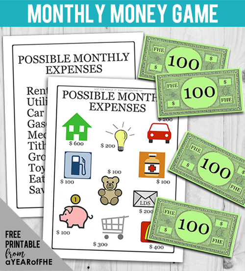 A Year of FHE // Your kids will have SO MUCH FUN playing this game that teaches them about finances and learning about WANTS vs. NEEDS. This is such a great activity for the entire family! This is part of an entire FHE about Financial Responsibility that is a free download! #lds #mormon