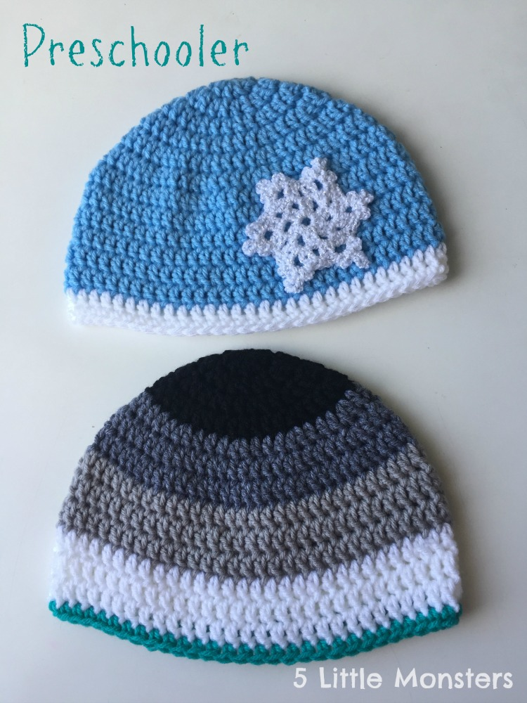 For the boy hat I did an ombre style from black to white with a contrasting  color on the bottom. d83c858f070