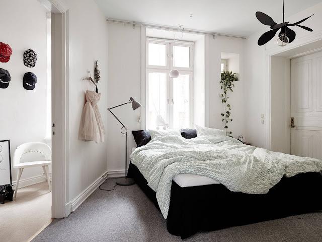 skandynawski pokój, sypialnia