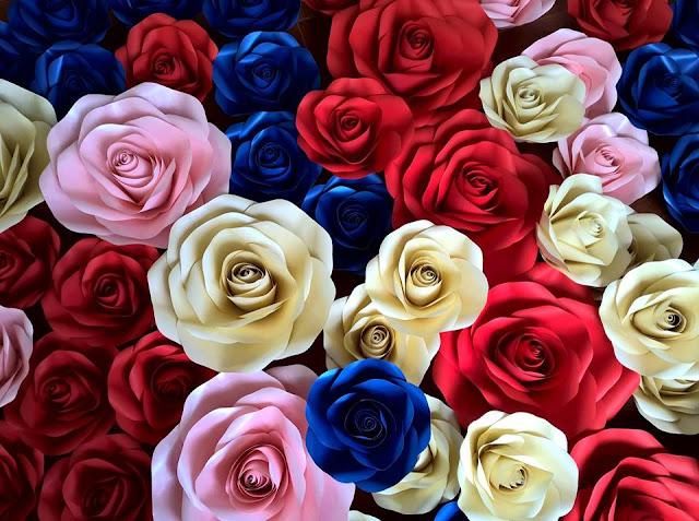 hoa hong giay trang tri dam cuoi