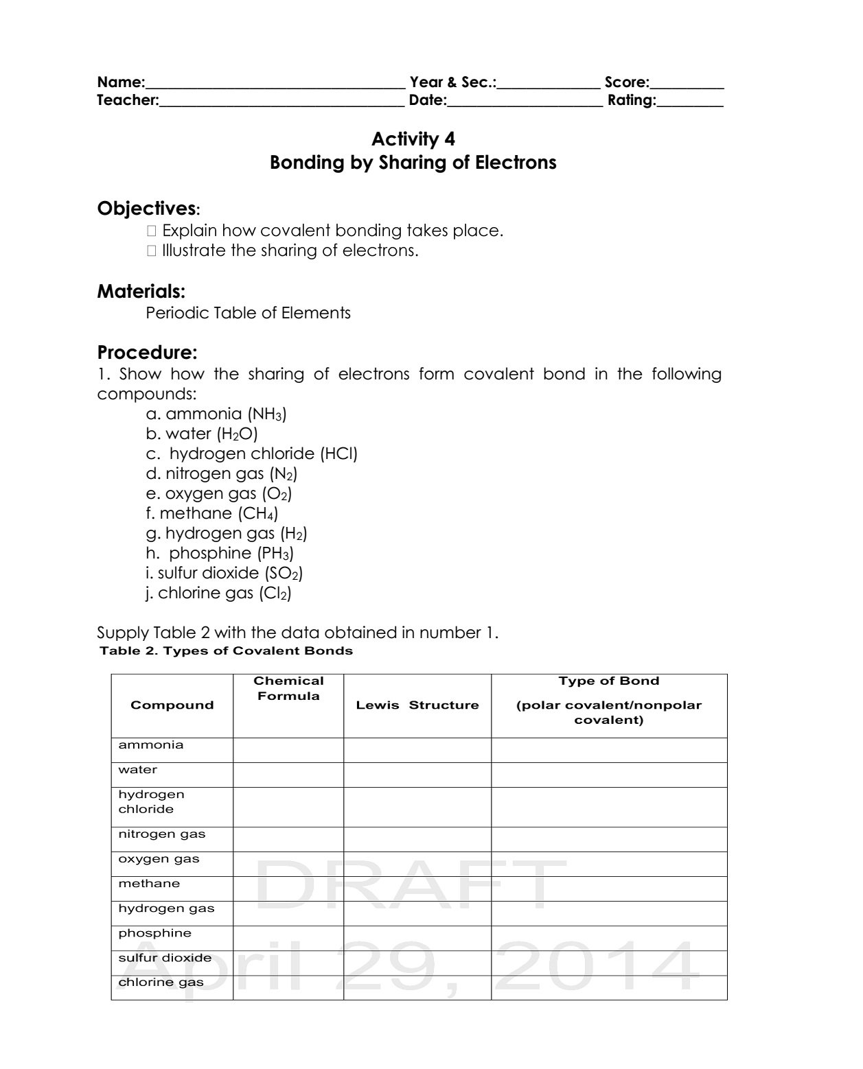 Science Concepts And Questions K To 12 Chemical Bonding Activities