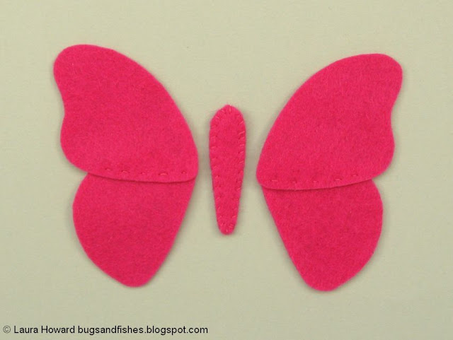 sewing the felt butterfly pieces together