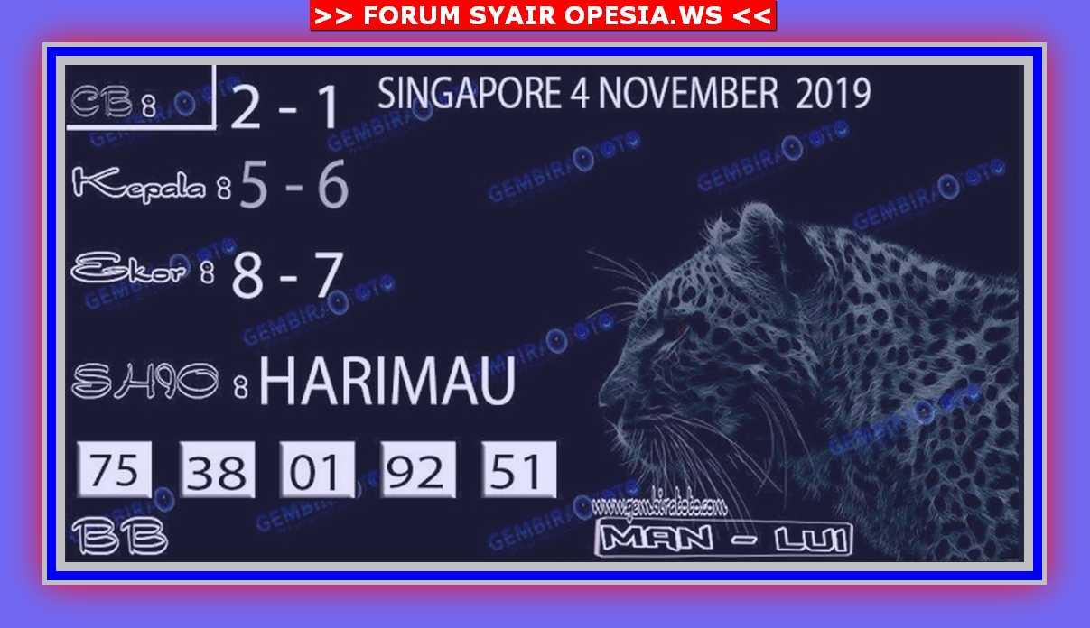 Kode syair Singapore Senin 4 November 2019 99