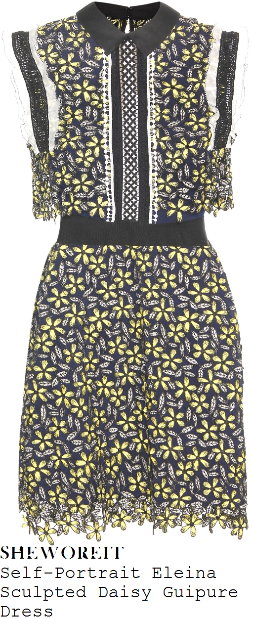 katherine-jenkins-self-portrait-eleina-navy-blue-yellow-grey-black-white-daisy-floral-sleeveless-collared-guipure-lace-dress