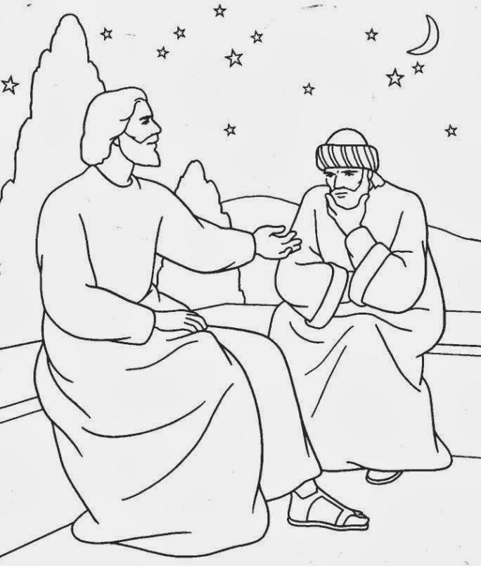 Imagenes Cristianas Para Colorear: Jesus y Nicodemo Para