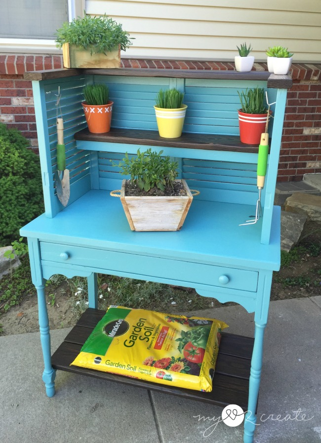 Potting Bench from Repurposed Shutters and Desk