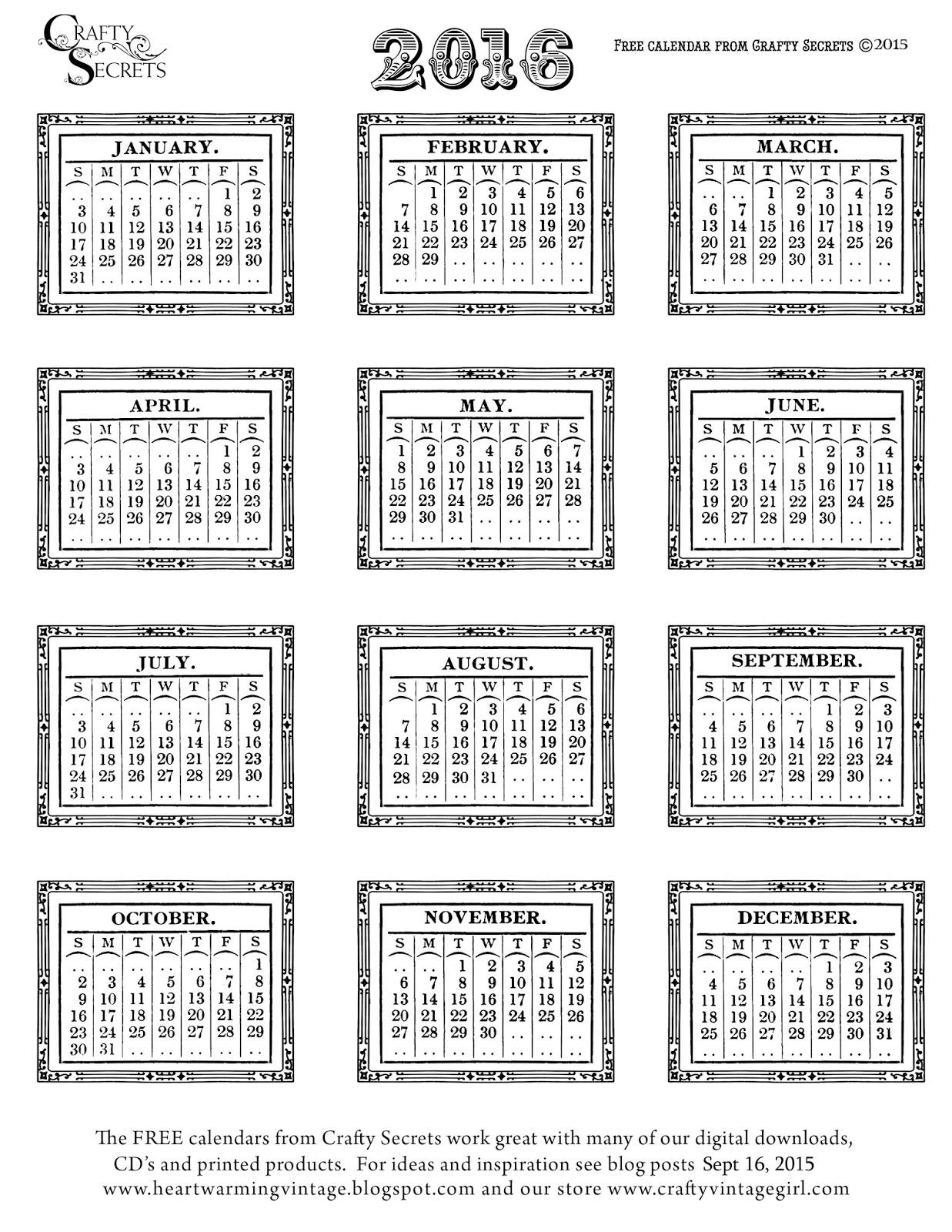 Vintage Calendar 2017 Printable : Crafty secrets heartwarming vintage ideas and tips free