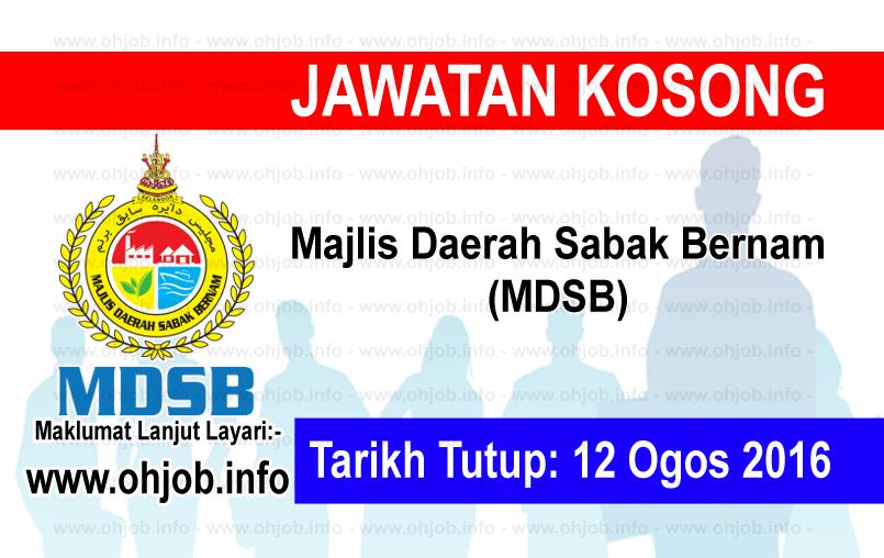 Jawatan Kerja Kosong Majlis Daerah Sabak Bernam (MDSB) logo www.ohjob.info ogos 2016