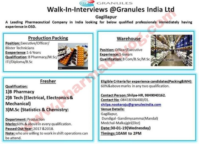 Granules | Walk-in for Production & Warehouse/ Freshers&Experienced | 30th Jan 2019 | Hyderabad