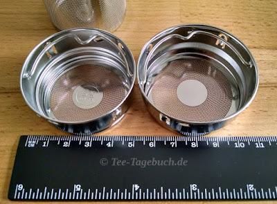 Siebeinsätze amapode Teeglas und Teebecher im Vergleich