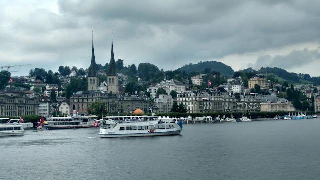 the ferry passes by downtown Lucerne