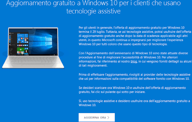 Aggiornamento gratis a Windows 10 tecnologie assistive