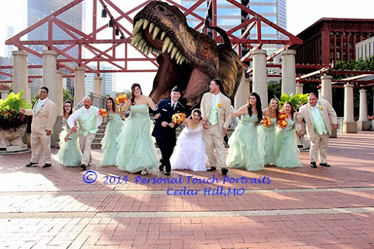 St. Louis Wedding Photographer and Wedding Party Chased By T-Rex in Kiener Plaza