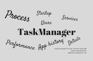 Process, Performance, App history, Startup, Users, Details dan Services.