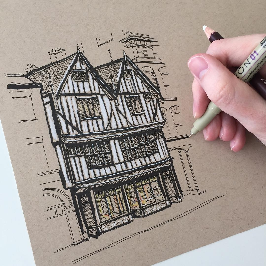 11-Tudor-Style-House-Phoebe-Atkey-Eclectic-Mixture-of-New-and-Old-Details-and-WIPs-Sketches-www-designstack-co