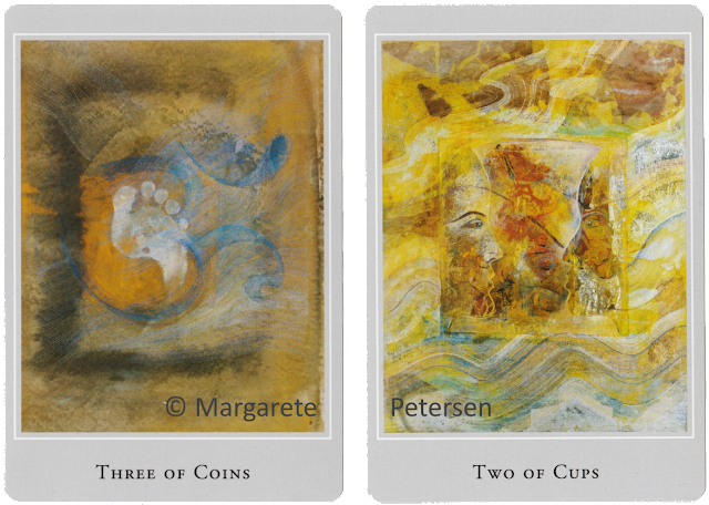 Three of Coins Two of Cups Margarete Petersen Tarot