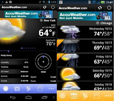 Aplicación AccuWeather para móviles Android