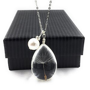 Dandelion Wish Pendant Necklace with Swarovski Crystal Pear