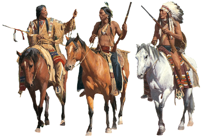 Native American Warriors on horseback, painting by David Mann