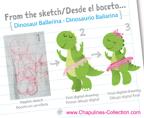Dinosaur ballerina illustration, sketch and digital drawing
