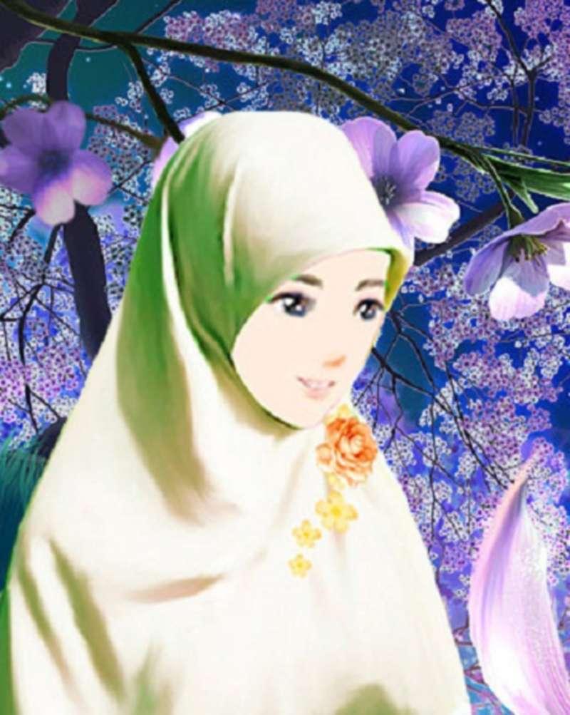 14 Kartun Muslimah Imut Membawa Bunga Anak Cemerlang