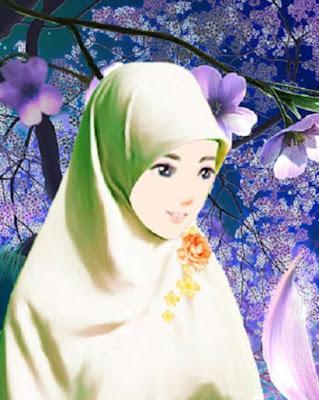 kartun muslimah imut ditaman bunga