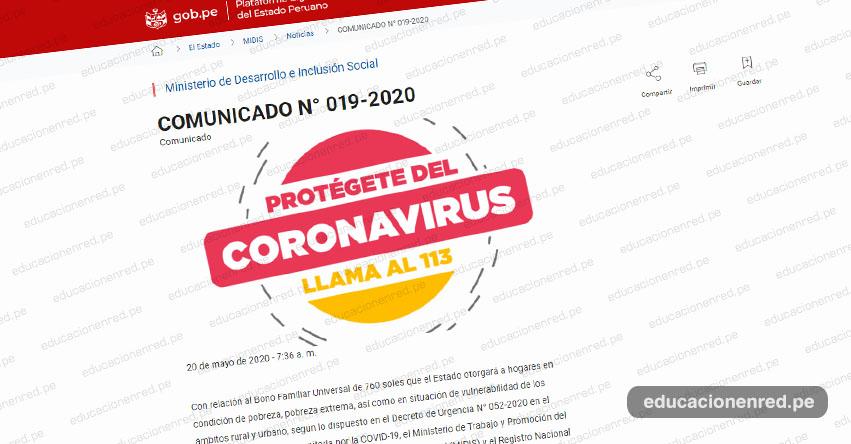 MIDIS: Comunicado Oficial Con relación al Bono Familiar Universal de S/ 760 (COMUNICADO N° 019-2020)