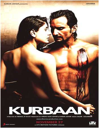 Poster Of Kurbaan 2009 Hindi 475MB BRRip 720p ESubs HEVC Watch Online Free Download Worldfree4u