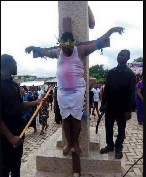 SHOCKING!! Governor Rochas Okorocha CRUCIFIES Himself On The Cross