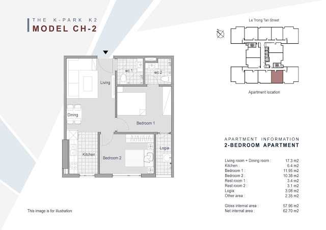 Căn 02 - 57.96m2 - 2 phòng ngủ  (BC Tây Nam)